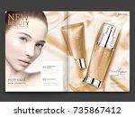 cosmetic magazine design ... | Shutterstock .eps vector #735867412