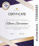 certificate template with... | Shutterstock .eps vector #735868885