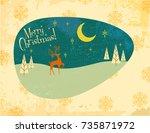 retro christmas greeting card | Shutterstock .eps vector #735871972