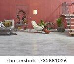 modern loft living room stairs... | Shutterstock . vector #735881026