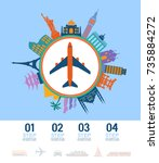 infographics elements. airplane ... | Shutterstock .eps vector #735884272