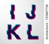 vector digital glitch letter... | Shutterstock .eps vector #735887758
