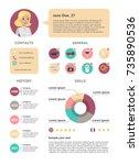female resume sample. skills... | Shutterstock .eps vector #735890536