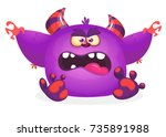 cute blue monster cartoon with... | Shutterstock .eps vector #735891988