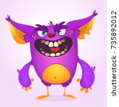 angry cartoon monster. vector... | Shutterstock .eps vector #735892012