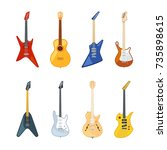 acoustic and rock guitar....   Shutterstock .eps vector #735898615