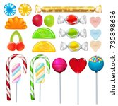 different sweets and candies... | Shutterstock .eps vector #735898636