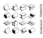 icons set in monochrome.... | Shutterstock .eps vector #735898726