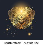 design template of a golden dog ... | Shutterstock .eps vector #735905722