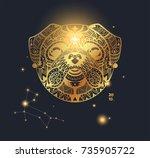 design template of a golden dog ... | Shutterstock .eps vector #735905722