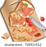 salmon sandwich realistic... | Shutterstock .eps vector #735911512