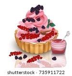 vector realistic tart with... | Shutterstock .eps vector #735911722