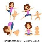 baby yoga. mutual exercises... | Shutterstock .eps vector #735912316