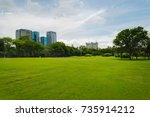 beautiful park scene in public... | Shutterstock . vector #735914212