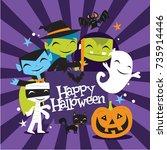 a vector illustration of jolly... | Shutterstock .eps vector #735914446