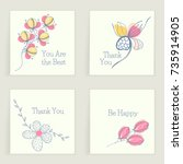 four square cards with wishes.... | Shutterstock .eps vector #735914905