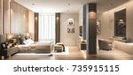 interior bedroom studio mock up ... | Shutterstock . vector #735915115
