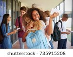 two girls celebrating exam... | Shutterstock . vector #735915208