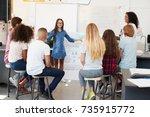 schoolgirl presenting in front... | Shutterstock . vector #735915772