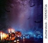 halloween pumpkin in a mystic... | Shutterstock . vector #735920716