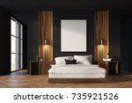 luxury bedroom interior with... | Shutterstock . vector #735921526