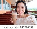 selfie asian woman  self... | Shutterstock . vector #735924652