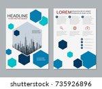 modern business two sided flyer ... | Shutterstock .eps vector #735926896