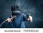 men wearing goggles  virtual... | Shutterstock . vector #735930142