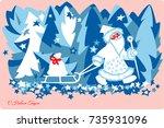 santa claus new year merry...   Shutterstock .eps vector #735931096