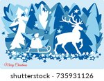 deer new year merry christmas...   Shutterstock .eps vector #735931126