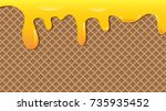 vector chocolate caramel waffle ... | Shutterstock .eps vector #735935452