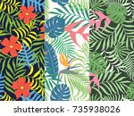 set of three seamless floral... | Shutterstock .eps vector #735938026