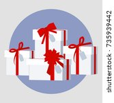 pile of wrapped gift boxes....   Shutterstock .eps vector #735939442