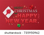 merry christmas and happy new...   Shutterstock .eps vector #735950962