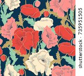 seamless colorful floral... | Shutterstock .eps vector #735951505