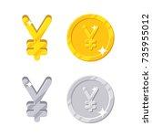 yen yuan sign. gold and silver... | Shutterstock .eps vector #735955012