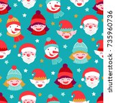 christmas seamless pattern with ...   Shutterstock .eps vector #735960736