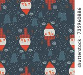 seamless pattern with snowmen...   Shutterstock .eps vector #735960886