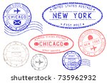 postmarks new york and chicago. ... | Shutterstock . vector #735962932