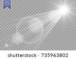 vector transparent sunlight... | Shutterstock .eps vector #735963802