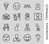 people icons set. set of 16... | Shutterstock .eps vector #735964615