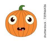 illustration of a bored pumpkin | Shutterstock .eps vector #735966436