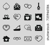 heart icons set. set of 16... | Shutterstock .eps vector #735966586