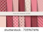 seamless vintage patterns polka ... | Shutterstock .eps vector #735967696