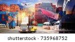 logistics and transportation of ...   Shutterstock . vector #735968752