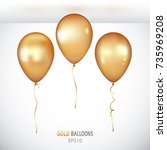 realistic 3d gold helium... | Shutterstock .eps vector #735969208