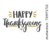 happy thanksgiving lettering.... | Shutterstock .eps vector #735971722