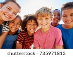 close up of pre teen friends in ... | Shutterstock . vector #735971812