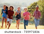 six pre teen friends running in ... | Shutterstock . vector #735971836