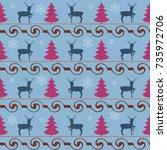 deer and christmas tree...   Shutterstock .eps vector #735972706